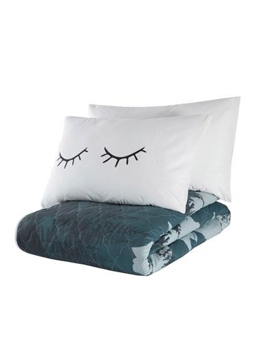 EnLora Home %100 Doğal Pamuk Kapitoneli Yatak Örtüsü Seti Çift Kişilik Eyelash Beyaz Beyaz